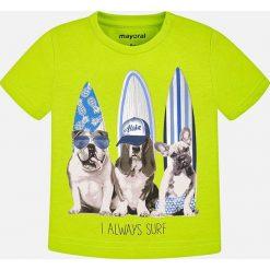 Mayoral - T-shirt dziecięcy 68-98 cm. Żółte t-shirty chłopięce z nadrukiem Mayoral, z bawełny, z okrągłym kołnierzem. Za 54,90 zł.