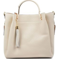Torebki klasyczne damskie: Skórzana torebka w kolorze beżowym – (S)31 x (W)38 x (G)10 cm