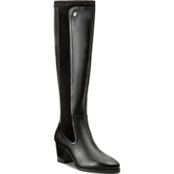 Kozaki CAPRICE - 9-25514-29 Black Nappa 022. Buty zimowe damskie Caprice, z materiału, przed kolano, na wysokim obcasie, na obcasie. W wyprzedaży za 359,00 zł.