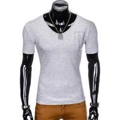 T-SHIRT MĘSKI Z NADRUKIEM S956 - SZARY. Szare t-shirty męskie z nadrukiem Ombre Clothing, m. Za 29,00 zł.