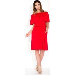 Czerwona Sukienka Midi z Hiszpańskim Dekoltem. Czerwone sukienki marki Mohito, l, z materiału, z falbankami. Za 110,00 zł.