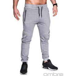 SPODNIE MĘSKIE DRESOWE P429 - SZARE. Czarne joggery męskie marki Ombre Clothing, m, z bawełny, z kapturem. Za 35,00 zł.