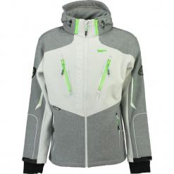 """Kurtka softshellowa """"Travel"""" w kolorze biało-zielonym. Białe kurtki męskie marki Canadian Peak, l, z nadrukiem. W wyprzedaży za 318,95 zł."""
