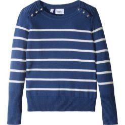 Sweter w paski z guzikami bonprix kobaltowo-biel wełny w paski. Szare swetry dziewczęce marki bonprix, m, melanż, z dzianiny, z kontrastowym kołnierzykiem. Za 59,99 zł.