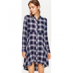 Koszulowa sukienka - Granatowy. Niebieskie sukienki marki Cropp, l, z koszulowym kołnierzykiem, koszulowe. W wyprzedaży za 59,99 zł.
