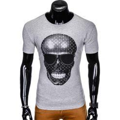 T-SHIRT MĘSKI Z NADRUKIEM S999 - SZARY. Szare t-shirty męskie z nadrukiem marki Ombre Clothing, m, z bawełny. Za 29,00 zł.