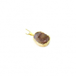 Naszyjnik Agat Geoda złoto. Fioletowe naszyjniki damskie marki Brazi druse jewelry, na imprezę, pozłacane. Za 170,00 zł.