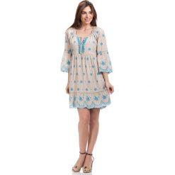 Sukienki hiszpanki: Sukienka w kolorze beżowo-błękitnym