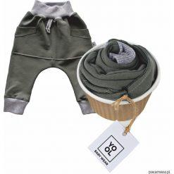 Spodnie niemowlęce: Spodnie baggy kangurek oliwka