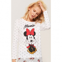 Koszulka piżamowa Minnie Mouse - Biały. Czarne koszule nocne i halki marki Reserved, l. Za 39,99 zł.