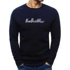 Bluzy męskie: Bluza męska z napisem granatowa (bx3437)