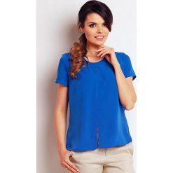Bluzki, topy, tuniki: Niebieska Elegancka Bluzka Letnia z Rozcięciem