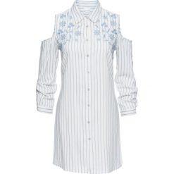 Bluzki damskie: Bluzka z haftem i wycięciami bonprix biel wełny – jasnoniebieski w paski