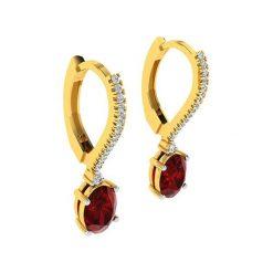 Kolczyki damskie: Złote kolczyki z diamentami i ozdobnymi kamykami