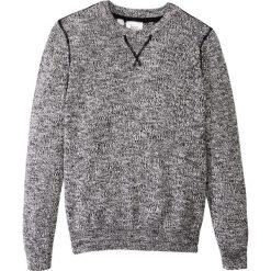 Swetry chłopięce: Sweter melanżowy bonprix czarno-biel wełny melanż