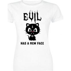 Evil Has A New Face Koszulka damska biały. Białe bluzki asymetryczne Evil Has A New Face, l, z nadrukiem, z okrągłym kołnierzem. Za 54,90 zł.