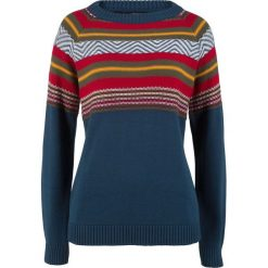 Sweter bonprix ciemnoniebieski wzorzysty. Niebieskie swetry klasyczne damskie marki bonprix, z nadrukiem. Za 37,99 zł.