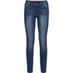 """Dżinsy SKINNY bonprix niebieski """"stone"""". Zielone jeansy damskie marki bonprix, w kropki, z kopertowym dekoltem, kopertowe. Za 79,99 zł."""