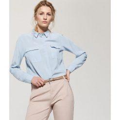 Gładka koszula - Niebieski. Szare koszule męskie marki House, l, z bawełny. W wyprzedaży za 19,99 zł.