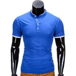 KOSZULKA MĘSKA POLO BEZ NADRUKU S848 - NIEBIESKA. Niebieskie koszulki polo marki Ombre Clothing, m, z nadrukiem. Za 29,00 zł.