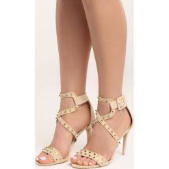 Beżowe Sandały My Sins. Brązowe sandały damskie marki Born2be, z materiału, na wysokim obcasie, na obcasie. Za 89,99 zł.