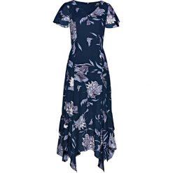 Sukienka w kwiaty bonprix ciemnoniebieski z nadrukiem. Niebieskie sukienki z falbanami marki bonprix, w kwiaty, dopasowane. Za 169,99 zł.