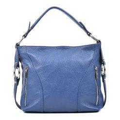 Torebki klasyczne damskie: Skórzana torebka w kolorze niebieskim – (S)25 x (W)32 x (G)8 cm