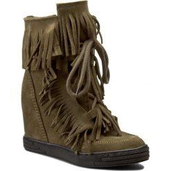 Sneakersy R.POLAŃSKI - 818 Zielona Oliwka. Czarne sneakersy damskie marki R.Polański, ze skóry, na obcasie. W wyprzedaży za 249,00 zł.