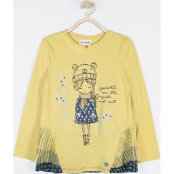 Koszulka. Żółte bluzki dziewczęce bawełniane SPARKLE, z aplikacjami, z falbankami, z długim rękawem. Za 65,90 zł.