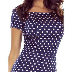 PATRYCJA  wygodna sukienka dzienna GRANAT W RÓŻOWE KROPKI. Niebieskie sukienki na komunię Bergamo, na imprezę, w kropki, z materiału, midi. Za 143,00 zł.