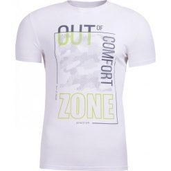 T-shirt męski TSM617 - biały - Outhorn. Białe t-shirty męskie Outhorn, na lato, m, z bawełny. W wyprzedaży za 29,99 zł.