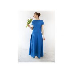 SUKIENKA DŁUGA DZIANINOWA UMUT KOBALTOWA. Niebieskie długie sukienki Meleksima, na spacer, l, z bawełny, z długim rękawem. Za 151,99 zł.