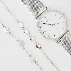 Zestaw: zegarek i bransoletki - Srebrny. Szare bransoletki damskie marki House, srebrne. Za 49,99 zł.