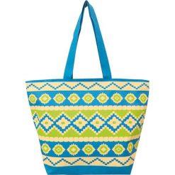 """Torba plażowa """"Ethnique"""" w kolorze zielono-niebieskim - 35 x 58 x 23 cm. Niebieskie torby plażowe Le Comptoir de la Plage, z tworzywa sztucznego. W wyprzedaży za 38,95 zł."""