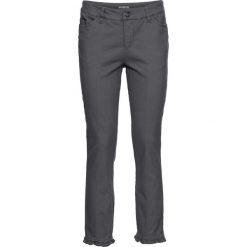Spodnie z wysokim stanem: Spodnie ze stretchem z falbaną bonprix antracytowy