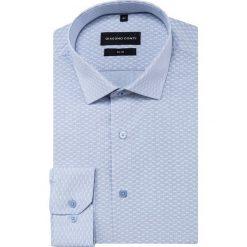 Koszula SIMONE slim KDNS000449. Niebieskie koszule męskie na spinki marki bonprix, m, z nadrukiem, z klasycznym kołnierzykiem, z długim rękawem. Za 169,00 zł.