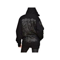 Bluza Double Killer Hoodie Black. Czarne bluzy rozpinane damskie Don't need no samurai, na wiosnę, l, z nadrukiem, z bawełny. Za 449,00 zł.