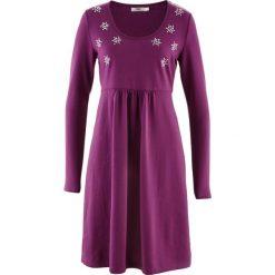 Długie sukienki: Sukienka ze sztrasami, długi rękaw bonprix fiołkowy lila