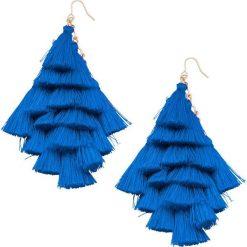 Kolczyki z tekstylnymi frędzlami bonprix lazurowy. Niebieskie kolczyki damskie bonprix. Za 21,99 zł.
