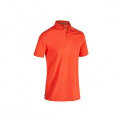 Koszulka polo do golfa 500 męska. Czerwone koszulki polo marki FOUGANZA, m, z bawełny. Za 39,99 zł.