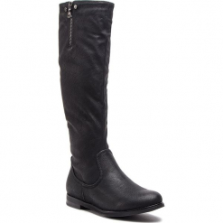 Kozaki JENNY FAIRY - WS16015-9 Czarny. Czarne buty zimowe damskie Jenny Fairy, ze skóry ekologicznej, przed kolano, na wysokim obcasie, na obcasie. Za 129,99 zł.