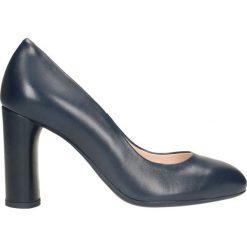 Czółenka IZO. Niebieskie buty ślubne damskie Gino Rossi, ze skóry, na wysokim obcasie, na słupku. Za 299,90 zł.