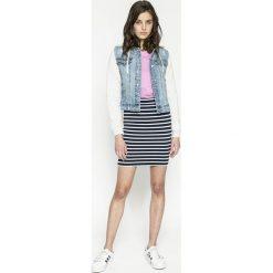 Tommy Jeans - Spódnica. Szare minispódniczki marki Tommy Jeans, l, z dzianiny, z podwyższonym stanem, dopasowane. W wyprzedaży za 169,90 zł.