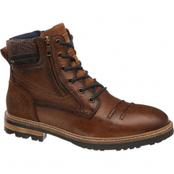 Kozaki męskie Dockers brązowe. Brązowe buty zimowe męskie DOCKERS, z materiału, na sznurówki. Za 319,90 zł.