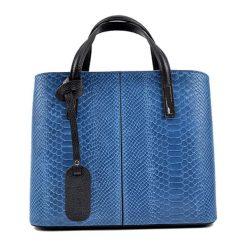 Torebki klasyczne damskie: Skórzana torebka w kolorze niebieskim – (S)25 x (W)31 x (G)14 cm