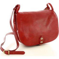 Listonoszki damskie: MICHELLE Duża torebka włoska na długim pasku Czerwona