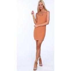 Sukienka na cienkich ramiączkach ruda 22405. Brązowe sukienki marki Fasardi, m, na ramiączkach. Za 39,00 zł.