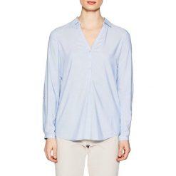 Bluzki damskie: Bluza prosta, kołnierz polo, gładka