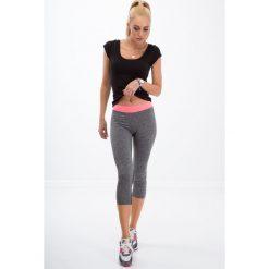 Legginsy sportowe damskie: Ciemnoszare legginsy sportowe z kieszonką / róż 5519