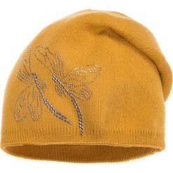 Czapki zimowe damskie: Musztardowa czapka z ważkami QUIOSQUE